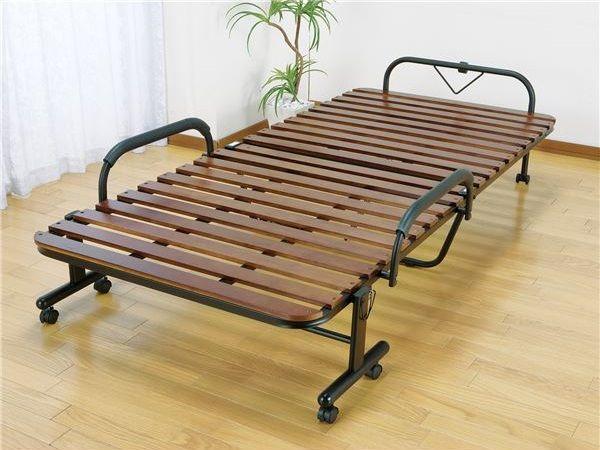 天然木すのこ折りたたみベッド シングル