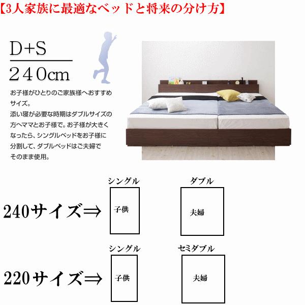 連結ベッド240cmまたは220cmを親子3人用で使う場合
