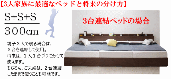 3台連結ベッドを親子3人で使う