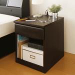 2口コンセント付き 引き出し付き 木製 ベッドサイドテーブル ベッドサイドチェスト