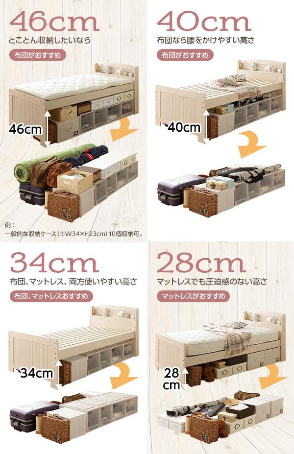 4段階調整可能 すのこベッド シングル(フレームのみ)布団対応 高さ調整 大容量ベッド下収納 布団対応 『Freed』 フリード