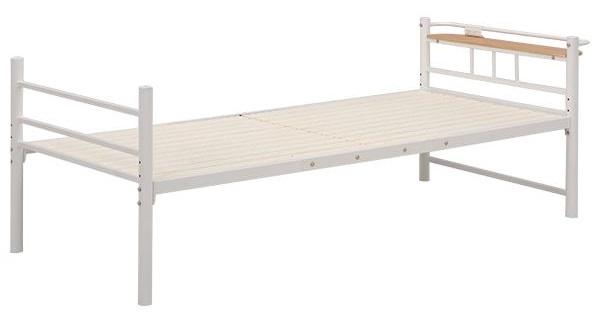 シングルベッド スチールパイプ 二口コンセント/宮付き 収納付き アイボリー